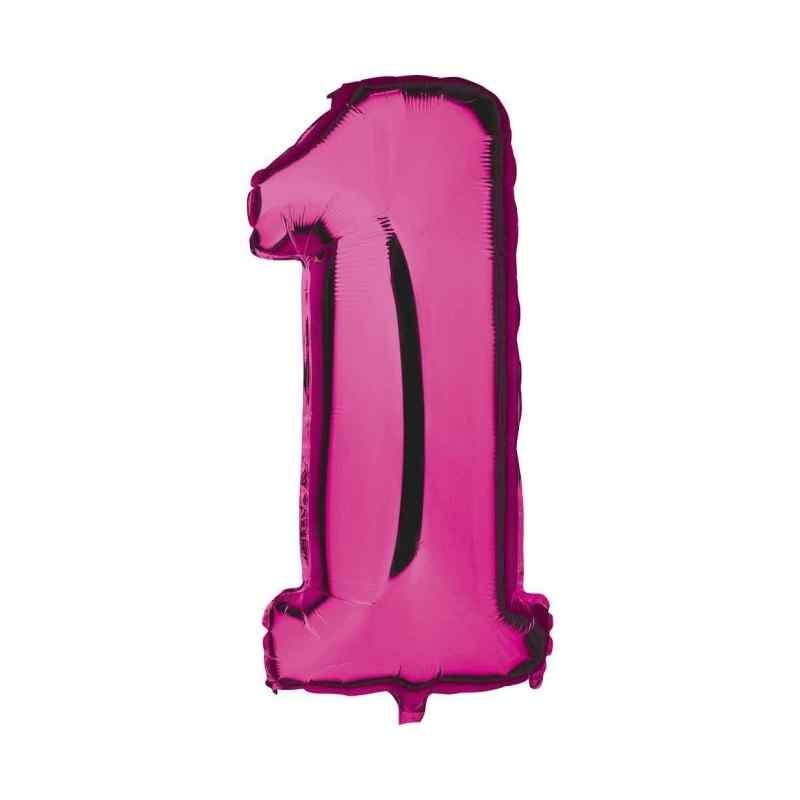 Kæmpe talballon Pink 1 Folie Tal Balloner